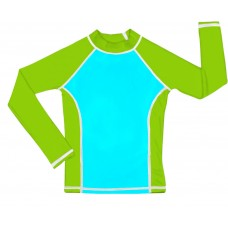 Turquoise / Lime UV Long Sleeve Swim Shirt
